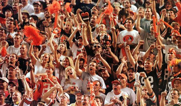 "Cleveland Browns fans in the ""Dawg Pound"" section"