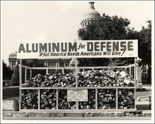 The American public was urged to contribute to the aluminum scrap supply to build fighter jets during World War II.